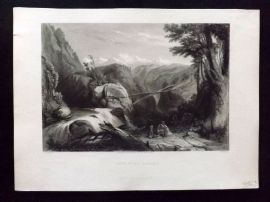 After Stanfield 1846 Antique Print. View near Deobun, India